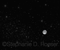 The moon is seen in a starfield in this stock photo showing our moon in outer space and with ample room for copyspace, head lines, and inset photos. This is an image about possibilities, discovery and the mystery of the universe.