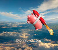 A piggy bank is roped to a rocket in thi photo, and successfully flying high above the clouds in a metaphor for rapidly growing investments.