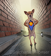 A funny chihuahua, standing in an alley, unzips his fur revealing a superhero costume underneath in a humorous dog photo created for greeting cards and advertising uses.
