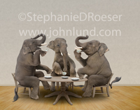 Tea Party! Three elephants have a tea party in a humorous look at conservative and republican politics.
