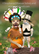 A dog dresses as an Indian has his arm around a cat dressed as a pilgrim in a funny thanksgiving pet picture.