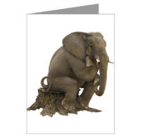 Thinker Elephant Silhouette Greeting Card - a very funny greeting card or note card