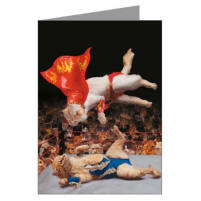 Cat Fight Greeting Card - Two cats wrestle in the funny greeting card
