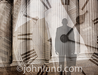Silhouette of a business man facing a wall street business edifice holding a briefcase, and with a clock superimposed over the photo.