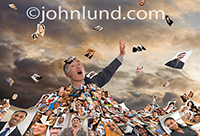 Talk about photo sharing, this man is drowning in an overload of pictures as more images continue to rain down on him.