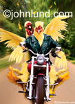 Funny Picture of two chickens riding a Harley  Davidson Motorcycle down a country road with a leather biker's jacket and flying feathers. Pics of chicks on bikes.