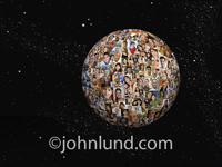 An orb of portraits float in outer space in a visual representation of a global community created through social media.