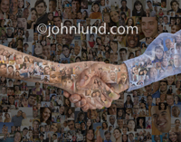 This handshake happens over a background of hundreds of individual portraits illustrating social connections and social media.