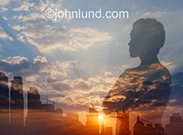 Pondering the future is what this silhouetted and double exposed (over a cityscape) woman appears to be doing in an image about decisions and leadership.