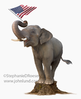 The Republican Party: An elephant stands on a stump and waves a flag with his trunk in a picture representing patriotism, the republican party and politicians on the stump.