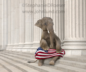 Patriotism...seen here in an elephant as a symbol for the republican party with the American Flag on her lap as she sits on the steps of Corporate America.